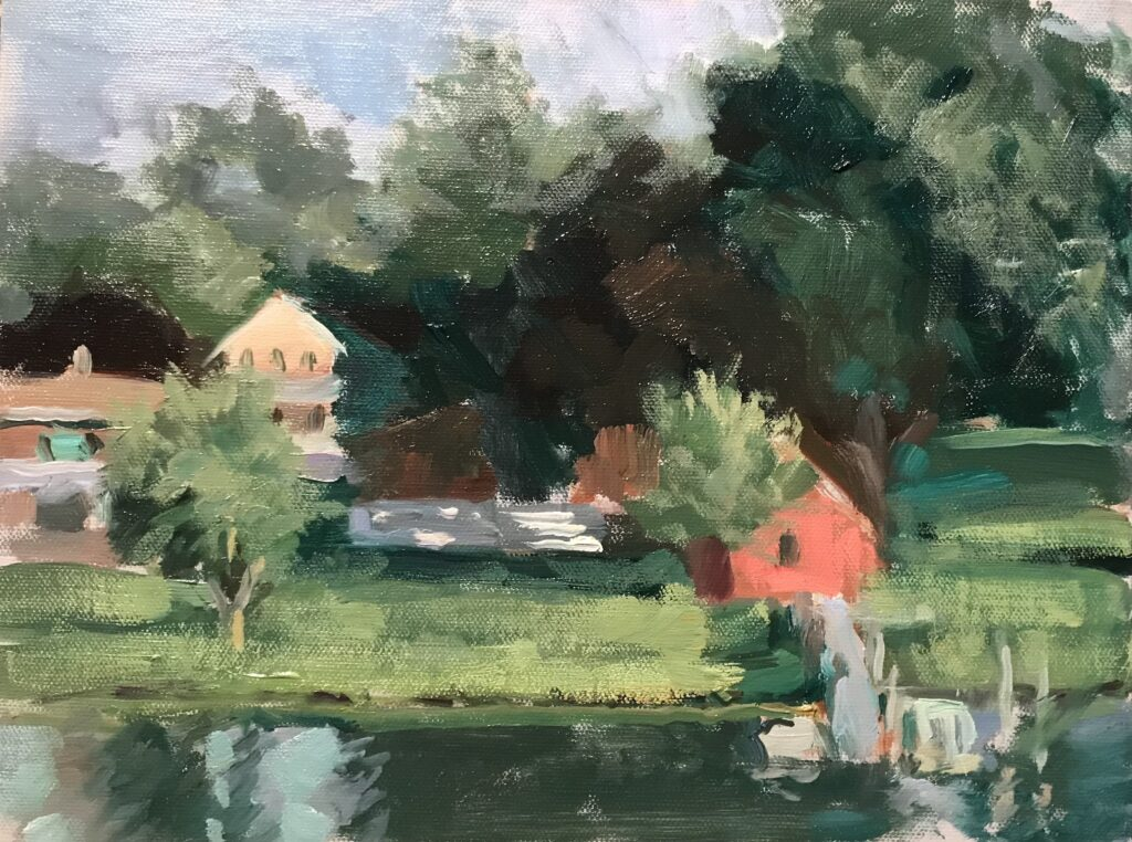 """""""View From My Balcony in Mystic"""", Oil on Canvas on Panel 9 x 12 Inches, by Susan Grisell $200"""