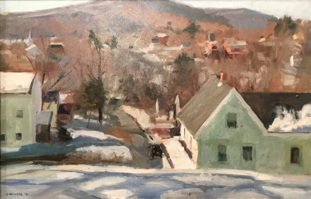 View of New Milford, Oil on Canvas, 24 x 36 Inches, by Susan Grisell, $1500