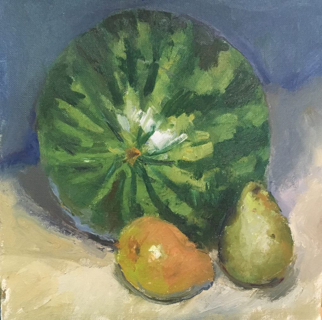 Watermelon and Pears, Oil on Canvas on Panel, 12 x 12 Inches, by Susan Grisell, $300