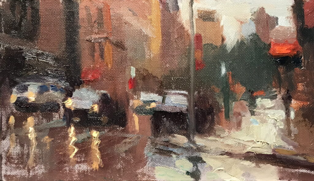 Wet Street, Oil on Panel, 6 x 12 Inches, by Susan Grisell, $200