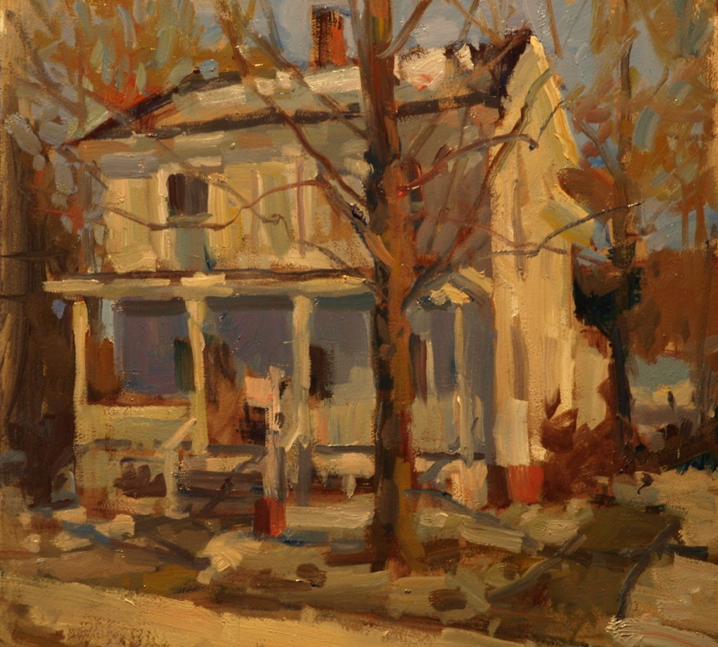 White House - New Milford, Oil on Panel, 12 x 12 Inches, by Susan Grisell, $275