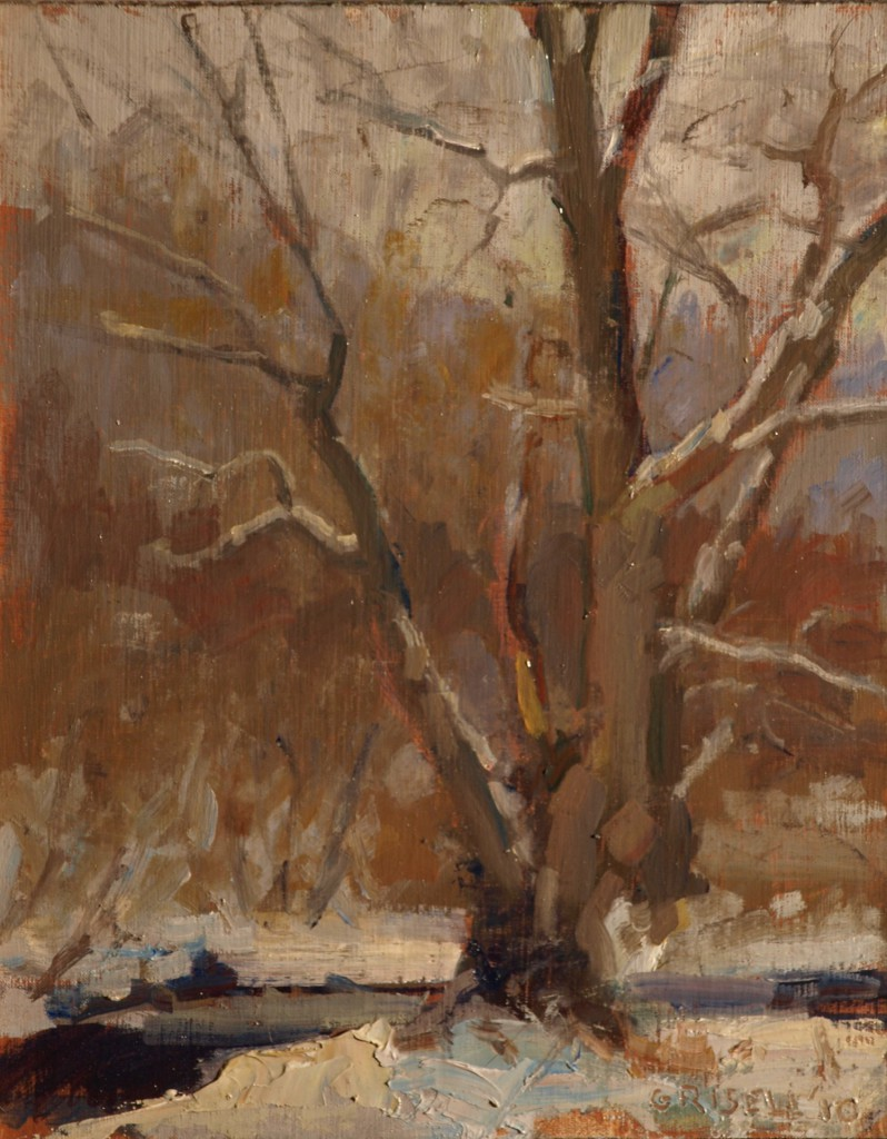 Willow in Winter, Oil on Panel, 10 x 8 Inches, by Susan Grisell, $150