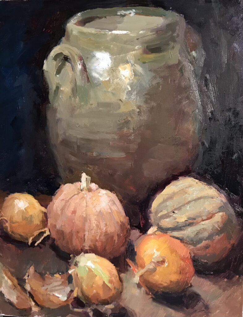 Winter Still Life, Oil on Canvas, 20 x 16 Inches, by Susan Grisell, $550