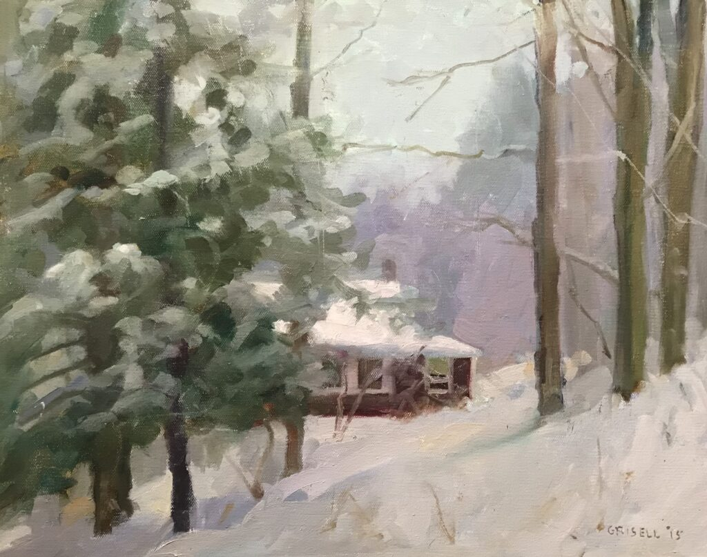 """""""Winter at Home"""", Oil on Canvas, 16 x 20 Inches by Susan Grisell $500"""