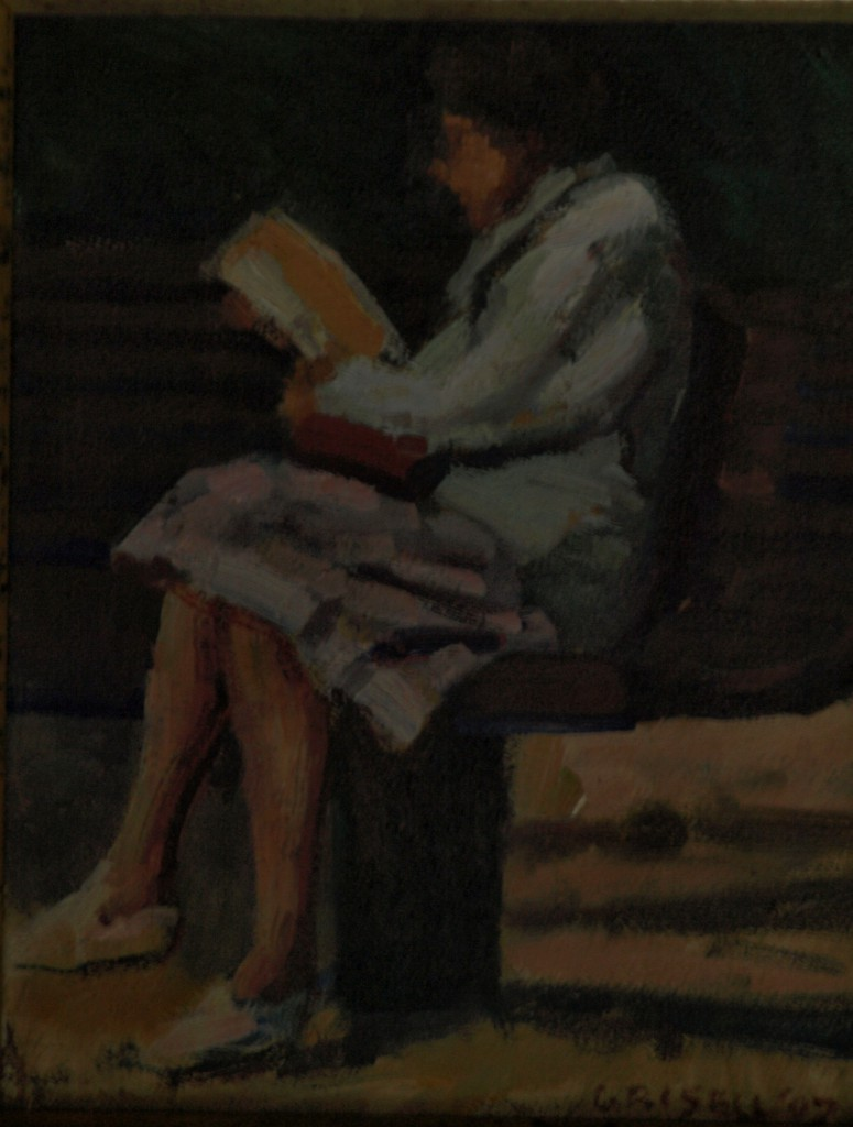 Woman Reading Outdoors, Oil on Panel, 8 x 10 Inches, by Susan Grisell, $150