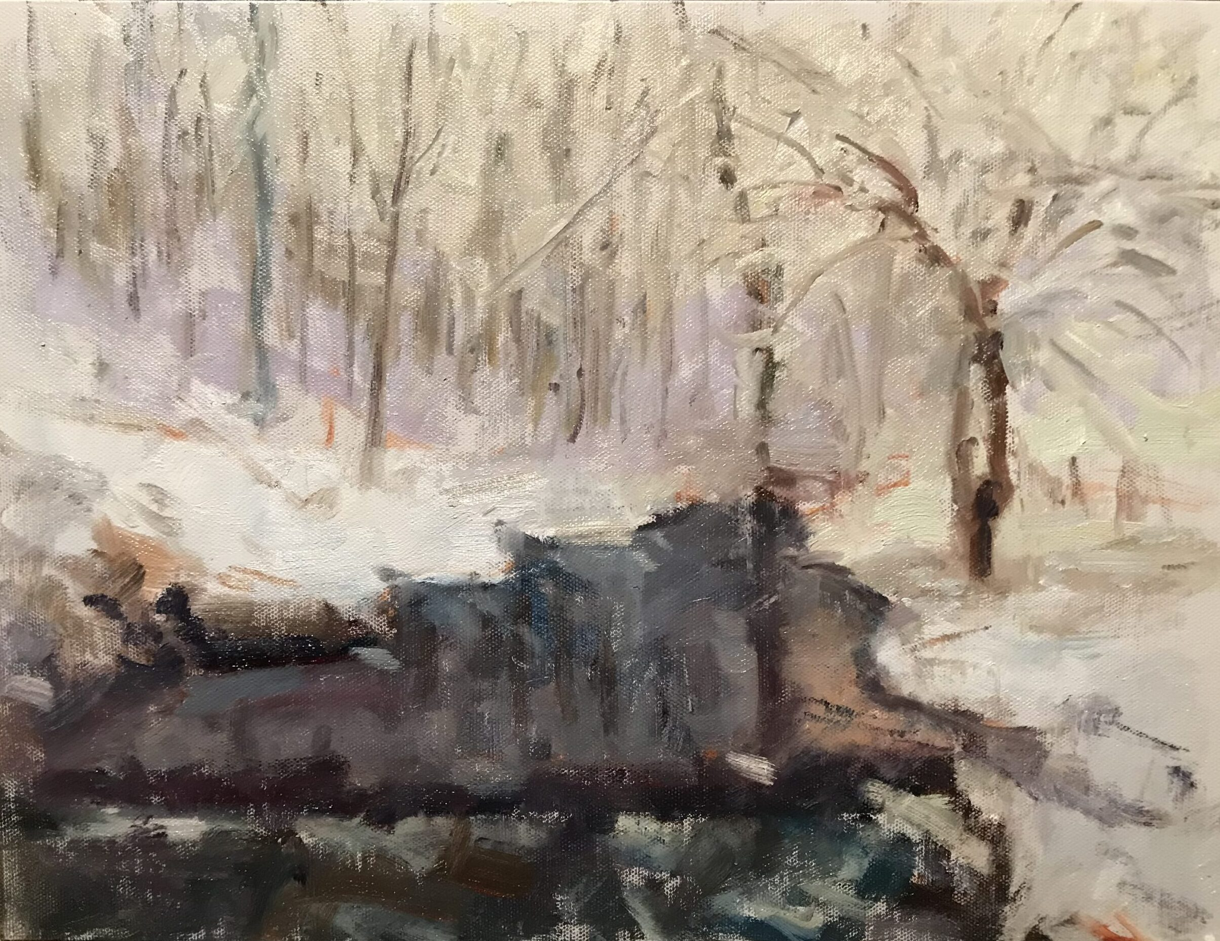 Womenshenuk in Winter, Oil on Canvas on Panel, 12 x 16 Inches, by Susan Grisell, $325