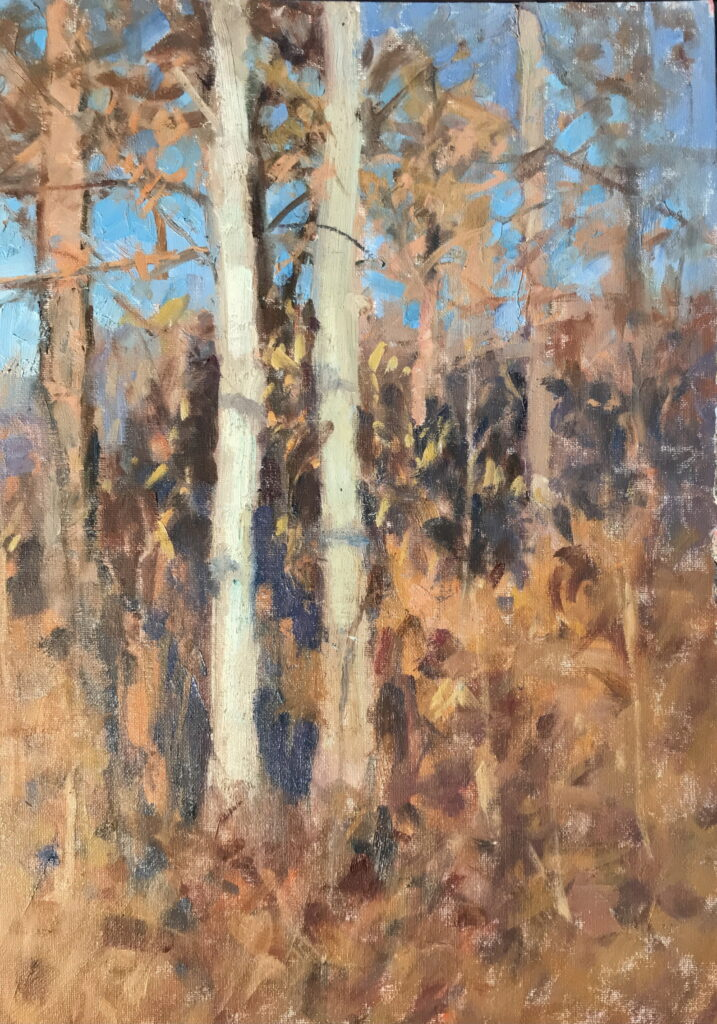 Wooded Hillside, Oil on Canvas, 20 x 16 Inches, by Susan Grisell, $550