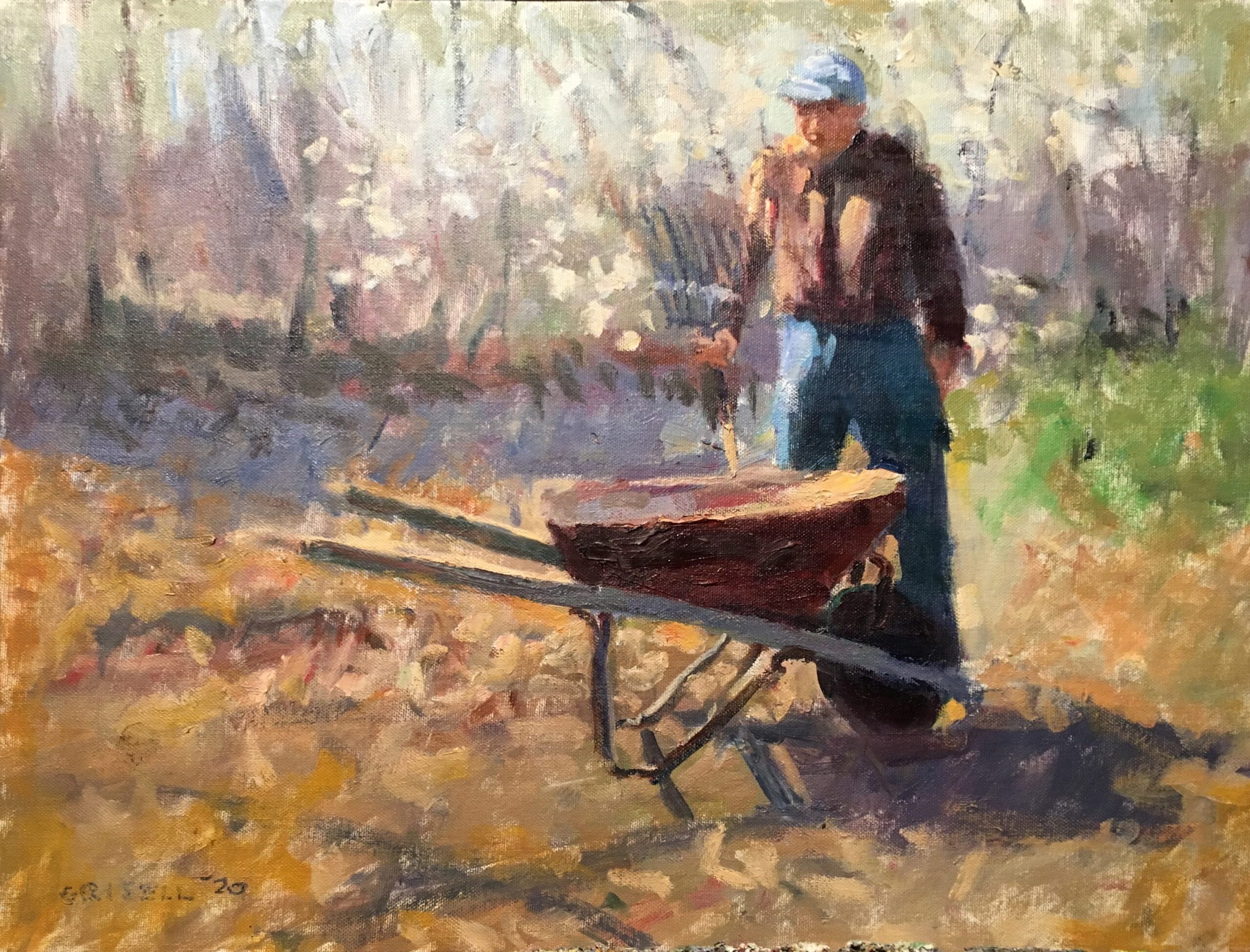 Yardwork, Oil on Canvas on Panel, 16 x 20 Inches, by Susan Grisell, $550