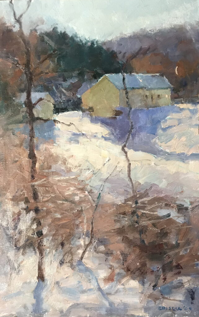 Yellow Barn in Snow, Oil on Panel, 18 x 12 Inches, by Susan Grisell, $325