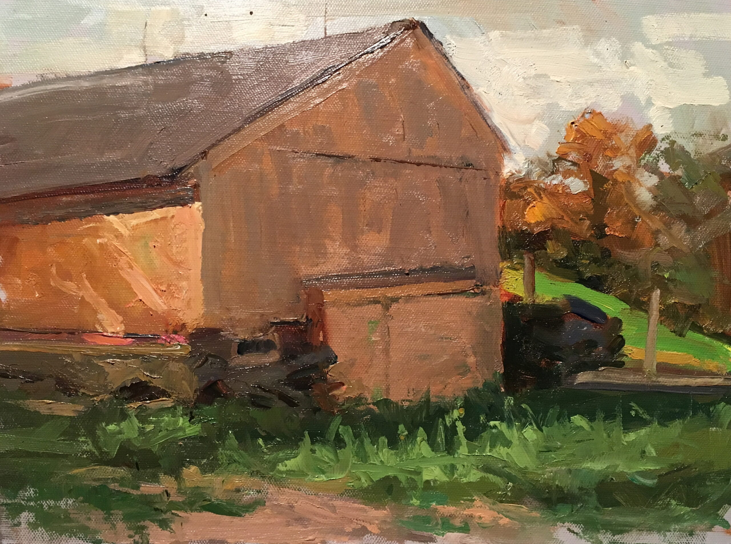 Yellow Barn, Oil on Canvas on Panel, 11 x 14 Inches, by Susan Grisell, $300