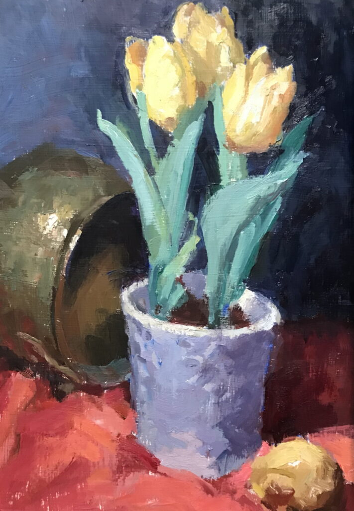 Yellow Tulips, Oil on Canvas on Panel, 16 x 12 Inches, by Susan Grisell, $325