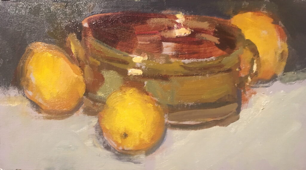 Brass and Lemons, Oil on Canvas on Panel, 6 x 12 Inches, by Susan Grisell, $200